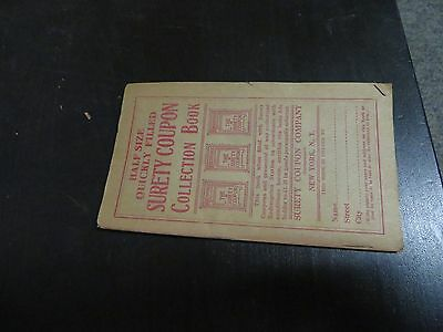 """Antique """"SURETY COUPON"""" Collection Book  Half Size Quickly Filled H.Batterman"""