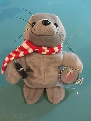 Coca Cola 1997 Collectible Plush Seal With Red and White Scarf