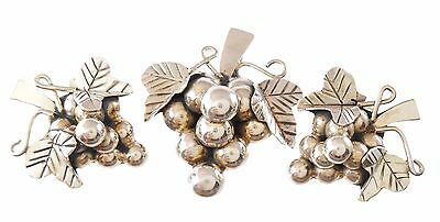 Taxco Mexico .925, Sterling Silver Grape Bunch Brooch & Earring Set TC-134