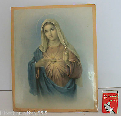 Virgin Mary Celluloid Metal Picture Hang Stand Holy Mother Religious Vintage