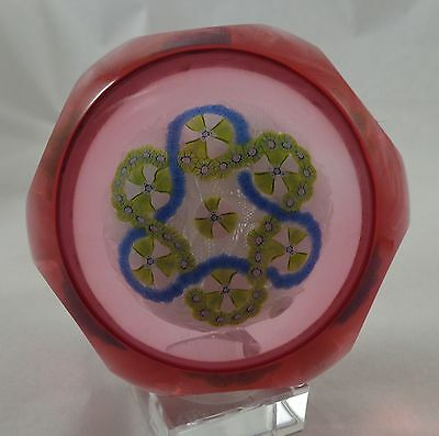 J Jay Glass Paperweight Cranberry Overlay Trefoil on White Muslin