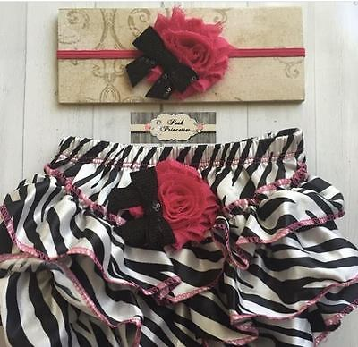 Baby Bloomer Set, Newborn Headband & Bloomers, Baby Zebra Ruffle Diaper Cover