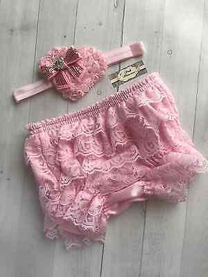 Baby Valentines Day Headband & Bloomer Set Pink Shabby Rosette Heart Sequin Bow