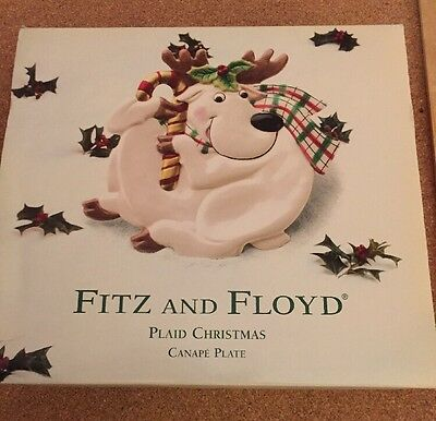 Euc 2001 Fitz And Floyd Plaid Christmas Reindeer Canapé Plate In Original Box