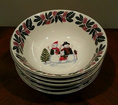5 GEI Christmas Snowman Family Cereal Bowls