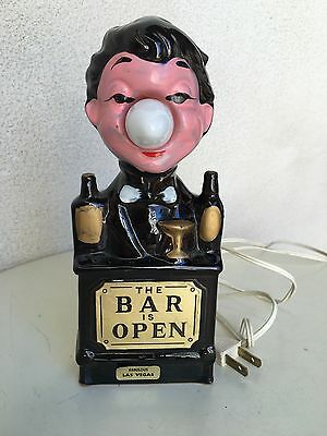 Vintage Barware Kitsch Bar Is Open Electric Figurine Made Japan Las Vegas