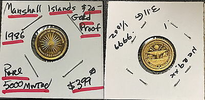 1986 Marshall Islands 1/10 Oz .999 $5 Gold Coin--Rare Year Proof Bu--5000 Minted