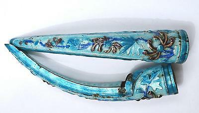 2 Early 20th Century Chinese Silver Enamel Repousse Nail Finger Guard