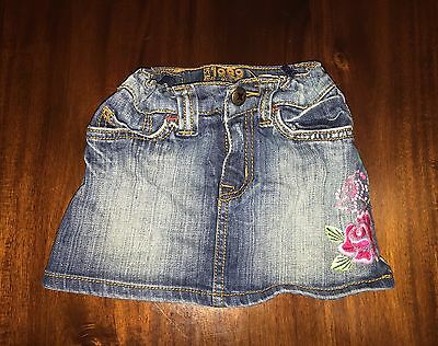 Children's Place Toddler Girl 3T Jean Skirt with Floral Detail