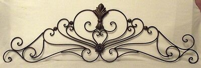 Wonderful Vintage Black Wrought Iron Scroll Topper Pediment 39-1/2""