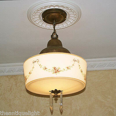 649 Vintage 20s 30s Ceiling Light Lamp Fixture Pendant Re-Wired