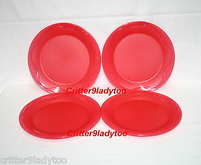 """NEW Tupperware Open House 8"""" Dessert Plates in Red"""