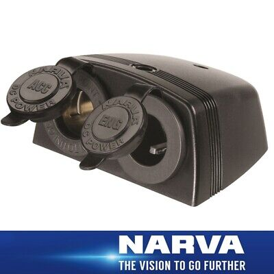 Narva HDRV Power Heavy-Duty Twin Surface Mount  Accessory/Engel Sockets  81165BL