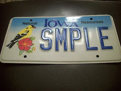 A+ *1990's* IOWA YELLOW FINCH BIRD SAMPLE LICENSE PLATE NATURAL RESOURCES