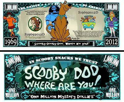 Scooby Doo Million Dollar Bill **Novelty Money** FREE Sleeve