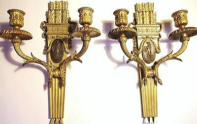 1907 Pair of Antique E. F. Caldwell Bronze Wall Sconces. Amazing Detail!!