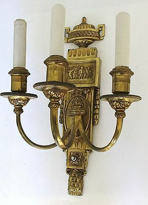 "Large (17"") Pair of Antique E. F. Caldwell Three Arm Sconces Classical Motif"