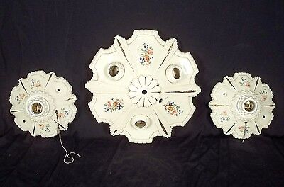 Vintage Set Of 3 Mid Century Hand Painted Porcelain Ceiling Lights
