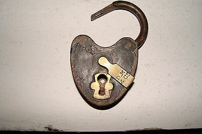 ANTIQUE 1860's  DAVENPORT & MALLORY PADLOCK STEEL CASE & BRASS COVER PLATE