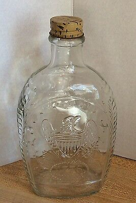 Vintage Log Cabin Syrup Clear Glass Bottle With Embossed Eagle 1776 Advertising