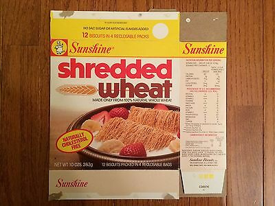 "1990s Vintage (Sunshine Biscuits) ""SHREDDED WHEAT"" Cereal Box, RARE!"