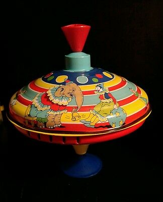 OFFICIAL SCHYLLING CIRCUS SPINNING TOP TIN METAL RETRO CLASSIC TOY clowns ducks
