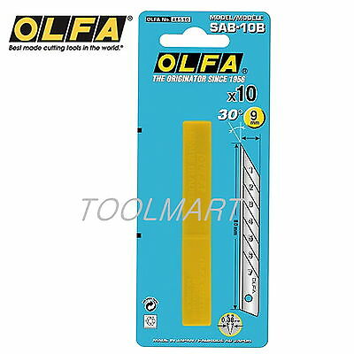 OLFA SAB-10B 10 sharper angled blades in a plastic case. Blister packed Genuine