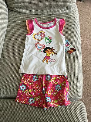 DORA THE EXPLORER  TSHIRT & SHORT SET - new with tags - age4-5 uk/ 5T us