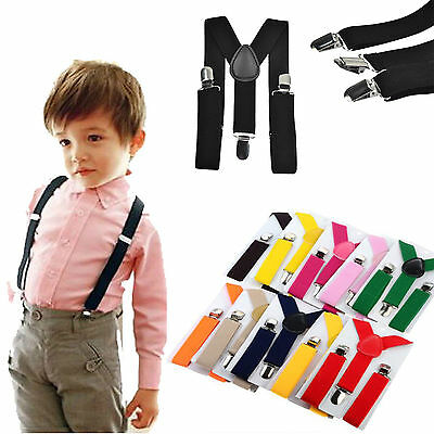 New Kids Boy Girls Toddler Clip-on Suspenders Elastic Adjustable Braces HOT