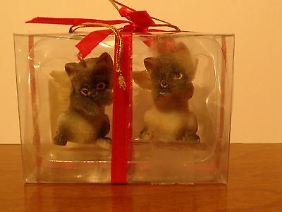 2 Siamese Kitty CAT ANGEL ORNAMENT Figurine statue NEW Christmas