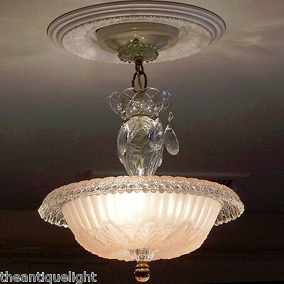 504 Vintage 40's Ceiling Light Lamp Fixture Glass Fixture Chandelier soft pink