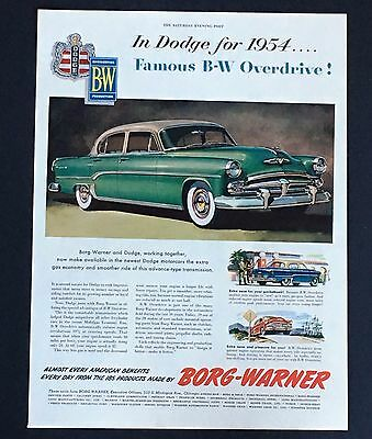 1954 Dodge Borg-Warner Car Original Advertisement Vintage AD Car Transmission