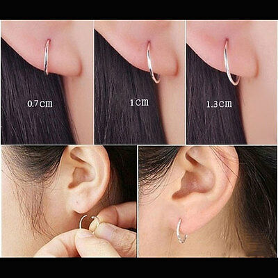 Fashion Small Endless Hoop Lip Nose Ear Studs 7/10/13mm s925 Silver Earring