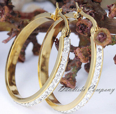 Huge Big Lady Women Gril 18K Gold Plated Stainless Steel Rhinestone Ring Earring