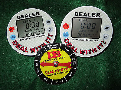 2 Tournament Dealer Buttons Poker Chip Programmable Blind Timers and Card Cover