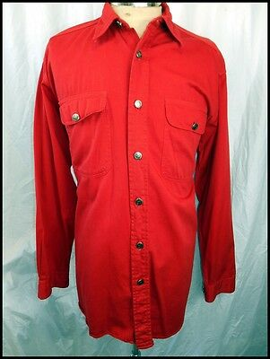 Vintage 80s 90s Australian Made Trent Nathan Jeanswear Bright Red Cotton Shirt M