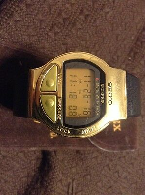 Rare vintage Seiko Receptor Message watch gold tone ALL ORIGINAL hard to find