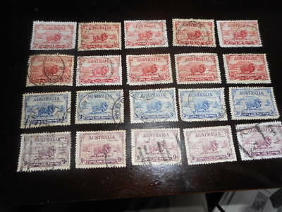 pre decimal macarthur set of 4 x 5 used aust stamps