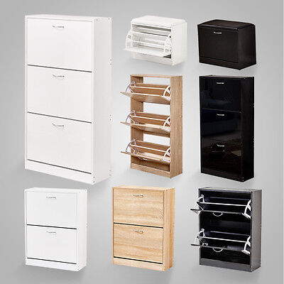 High Gloss 1 2 3 Drawers Shoe Cabinet Storage Wooden Cupboard Footwear Stand