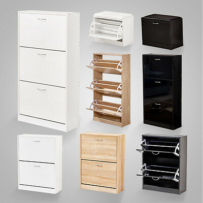 High Gloss 2 3 Drawers Shoe Cabinet Storage Cupboard Footwear Stand Rack Wooden