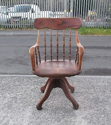 Antique Oak Office Swivel Desk Chair    Delivery Available