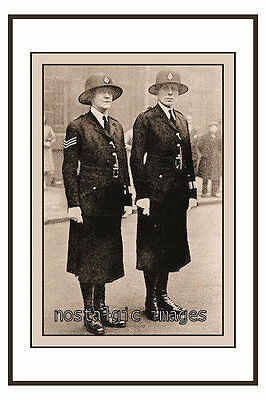 PHOTO TAKEN FROM A 1920's IMAGE OF 2 FEMALE POLICE OFFICERS ON DUTY