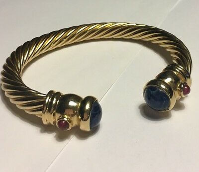 Vintage 80's 18K Gp Nos Museum-Inspired Cuff Bracelet With Blue Tips