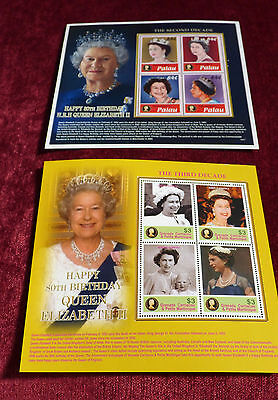 Queen's 80th Birthday MS Stamps  - Grenada and Palau  - Royalty