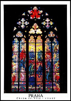Postcard  Praha The St Vitus Cathedral Stained Glass