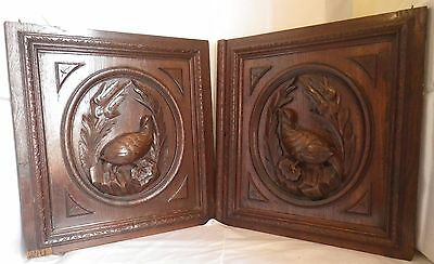 2 Antique french wood solid set oak door carved panel  hunting scene  Partridge
