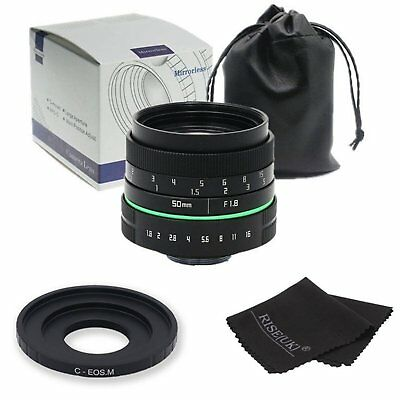 New 50mm f/1.8 C mount CCTV II Lens APS-C  for Canon EOS M EF-M Mirrorless
