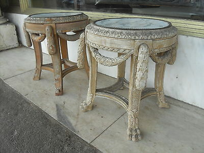 Pair Of Antique Classical Style Urn Stands / Side Table  Gesso Moulded