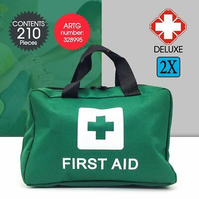 2x 210 Pieces First Aid Kit Supplies Home Office Travel Survival Medical Bag AU