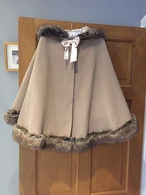Monsoon Faux Fur Trim Hooded Cape, Size M (age 10 Approx)- Stunning!